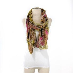Accessories - Feather & Leaf Printed Lightweight Scarf
